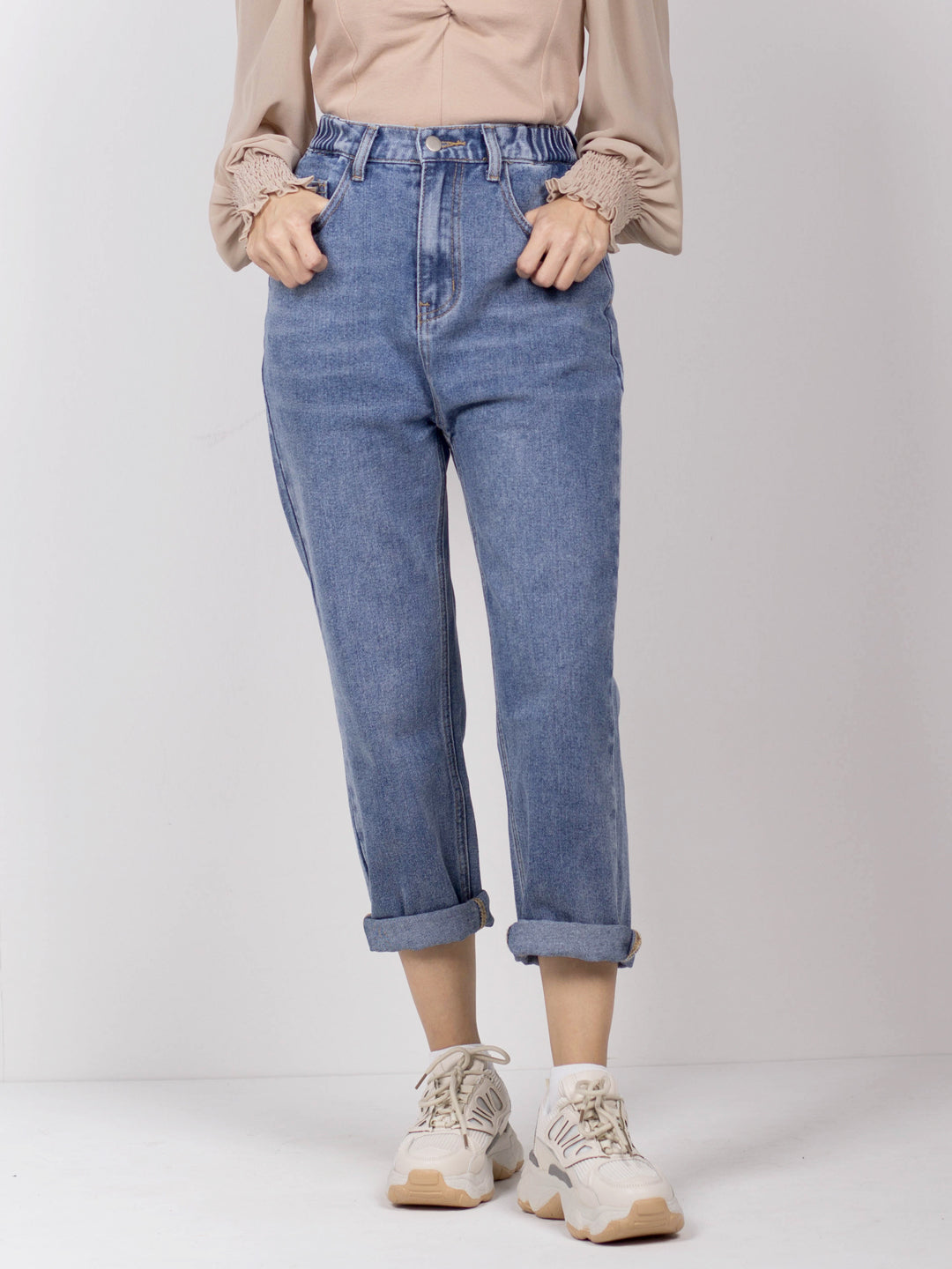 Women Long Denim Jogger - Blue