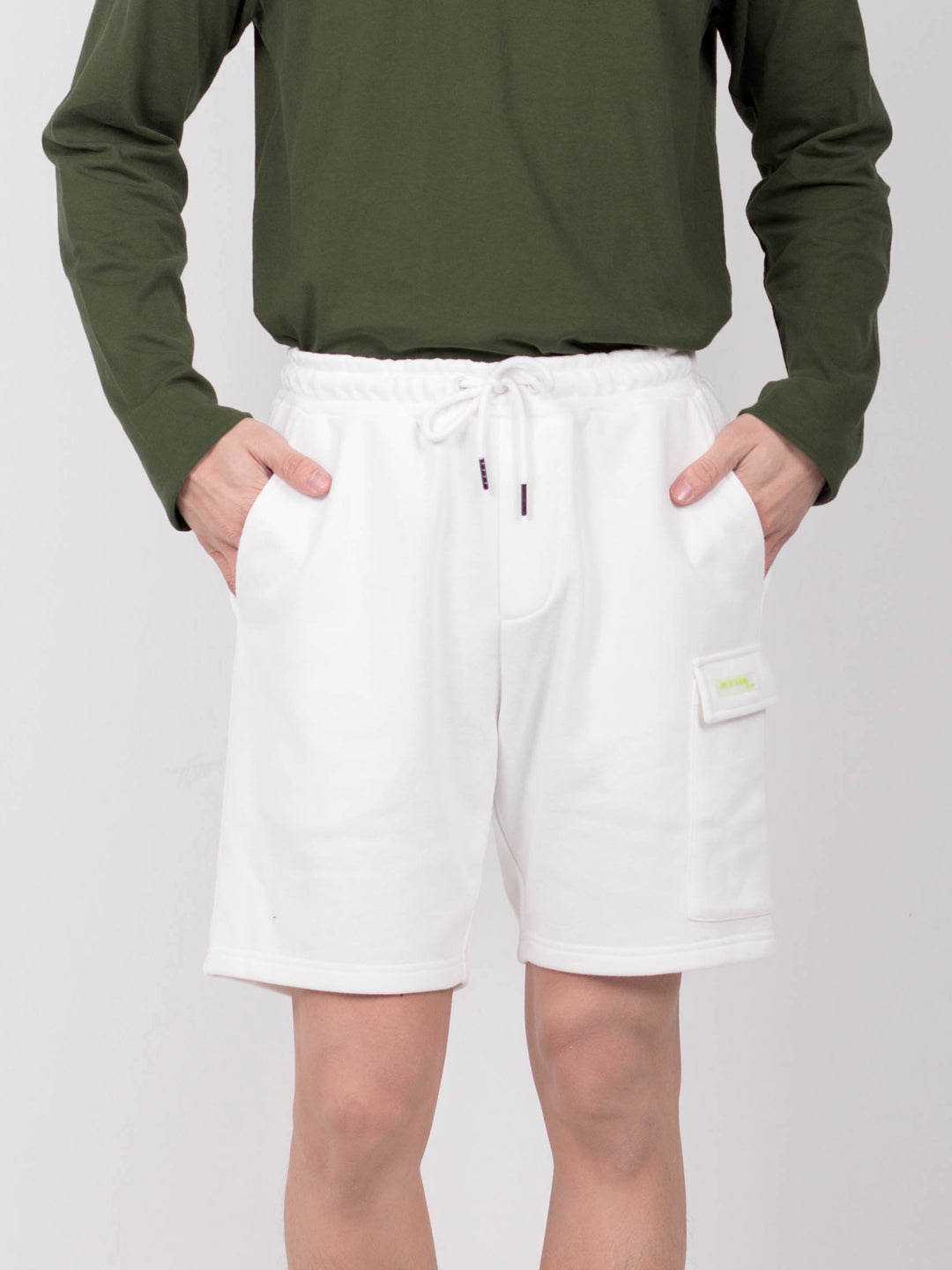 Men Short Knit Jogger - White