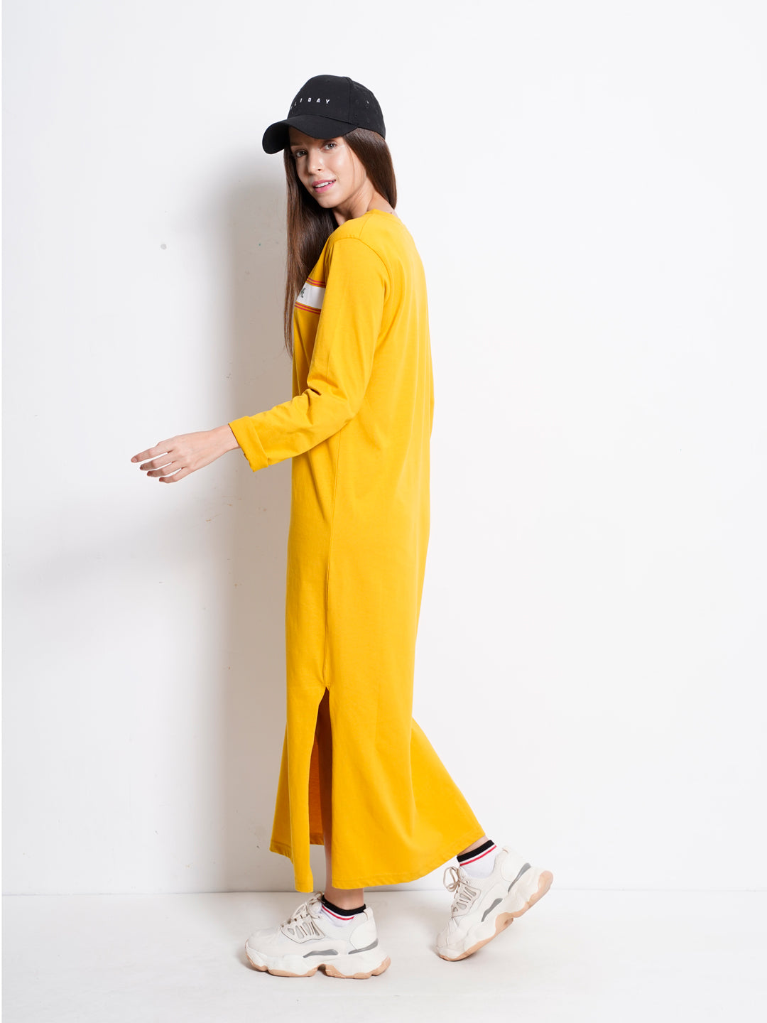 Women Graphic Long Sleeve T-Shirt Dress - Yellow