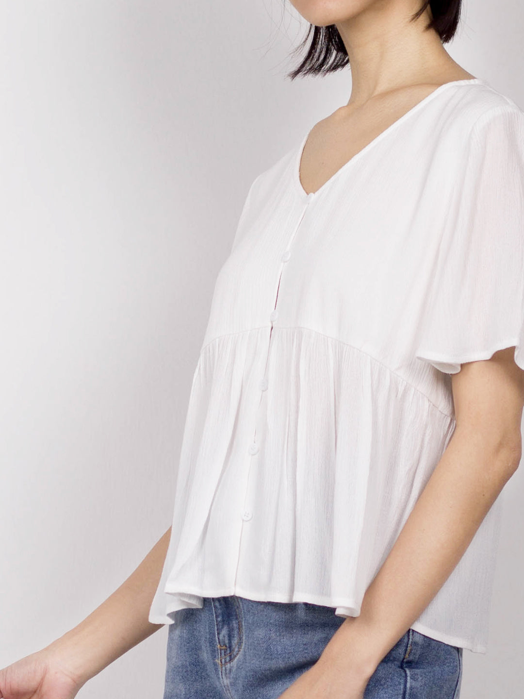 Women Short Sleeve Blouse - White