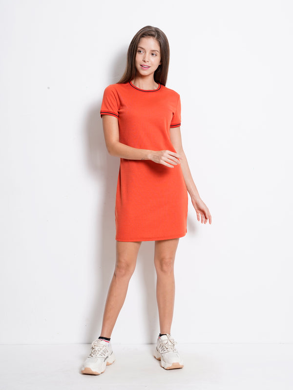 Ribbed Tee Dress - Orange