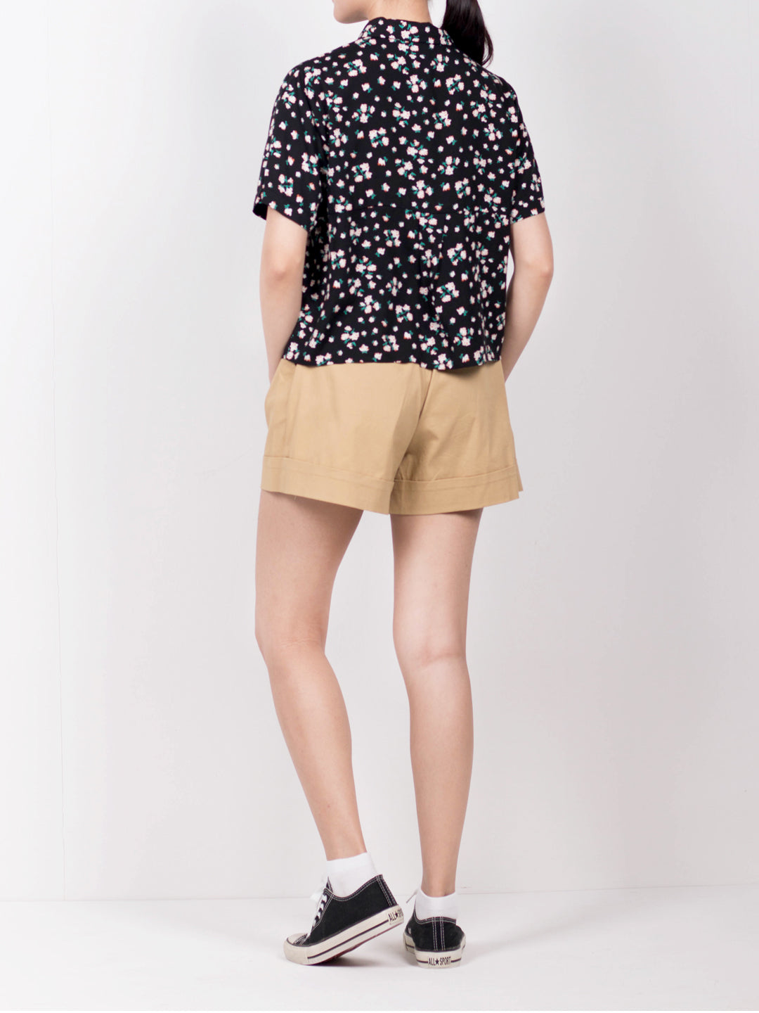 Women Floral Short Sleeve Blouse - Black