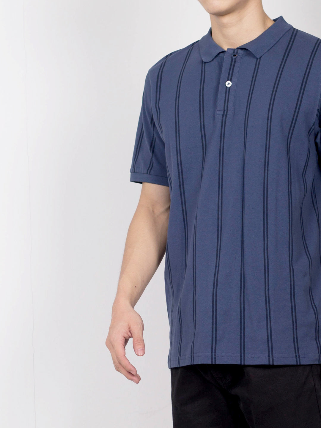 Men Vertical Stripe Polo Tee - Dark Blue