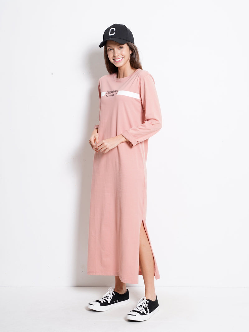 Graphic Long Sleeve T-Shirt Dress - Light Pink