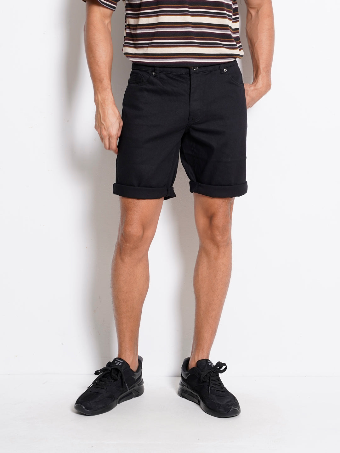 Men Denim Shorts - Black