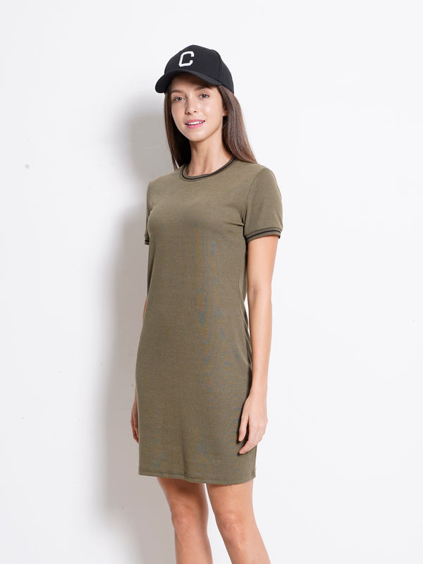 Ribbed Tee Dress - Army Green