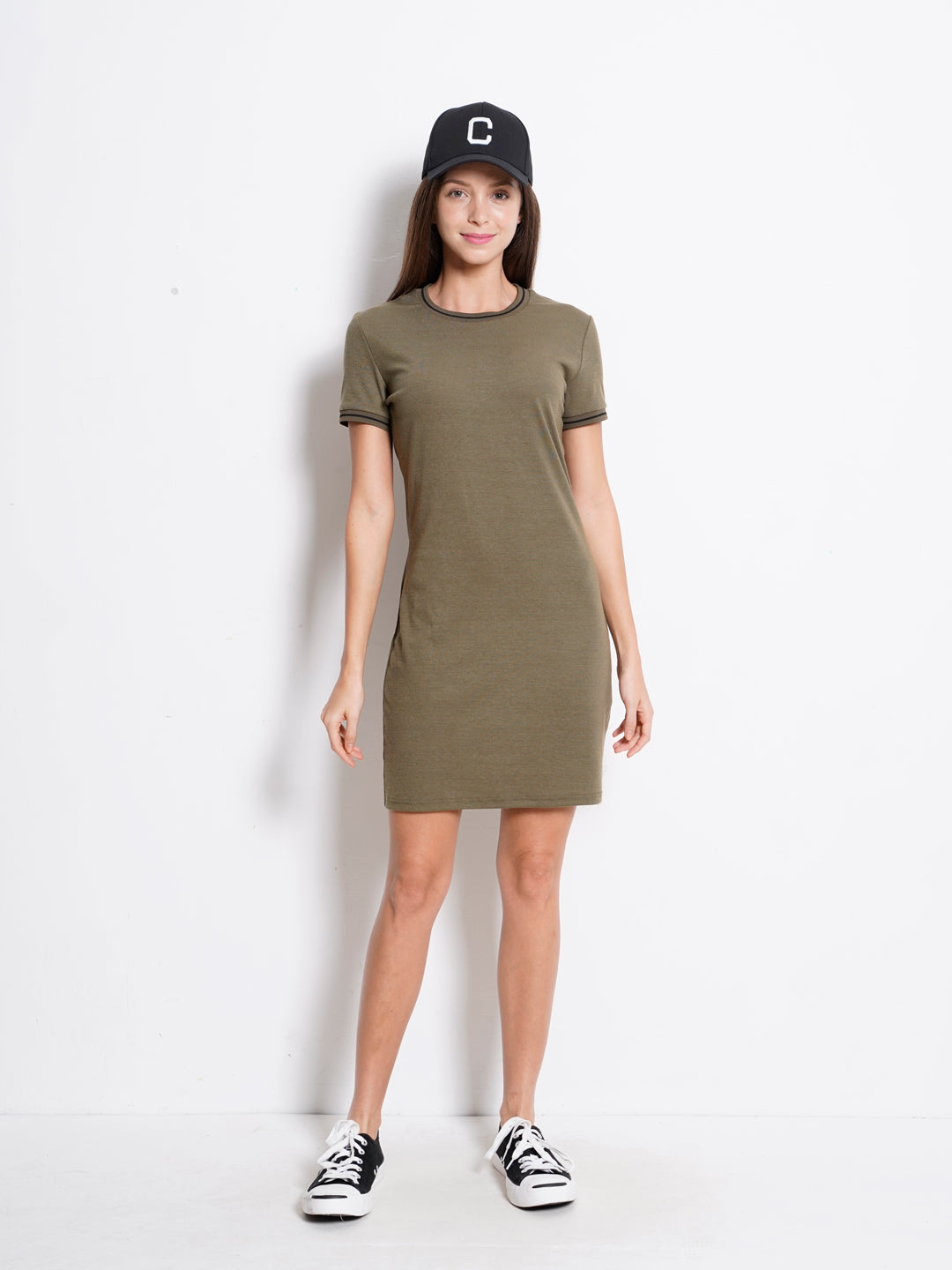 Women Ribbed Tee Dress - Army Green