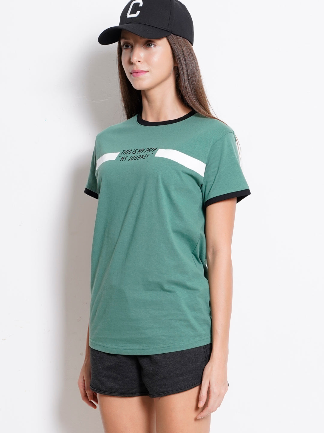 Women Graphic Short Sleeve T-Shirt - Dark Green
