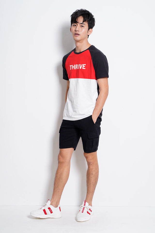 Men Raglan Short Sleeve T-Shirt - Black - RFH9H2201