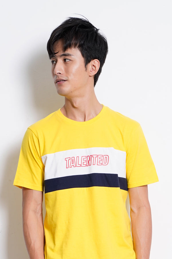 Cut & Sew Short Sleeve T-Shirt - Yellow