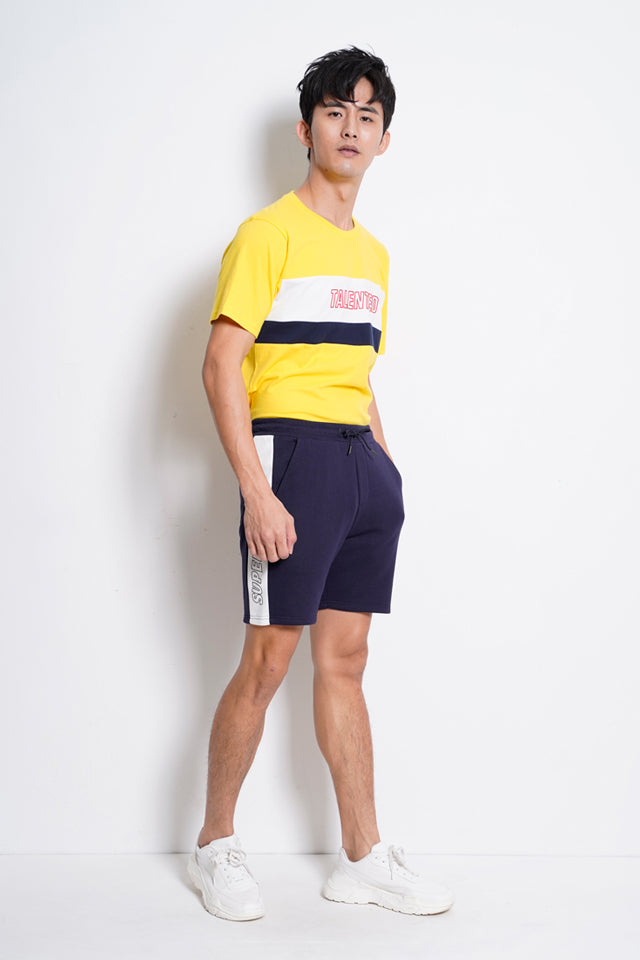 Men Cut & Sew Short Sleeve T-Shirt - Yellow