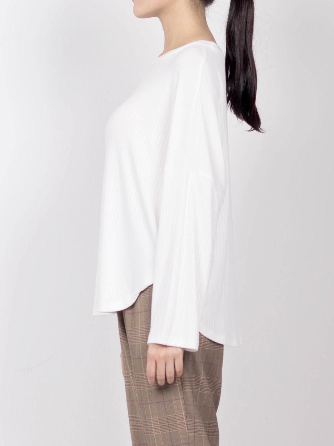 Women Knit Long Sleeve Blouse - White