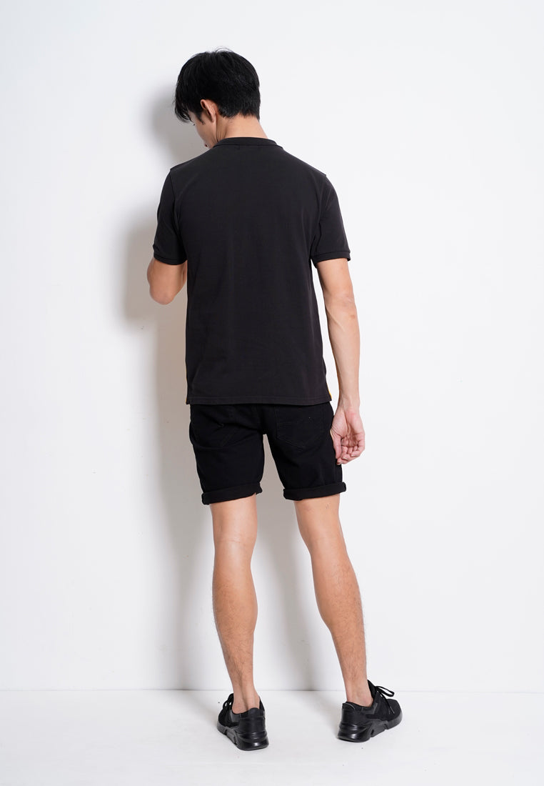 Men Short Sleeve Polo Tee - Black