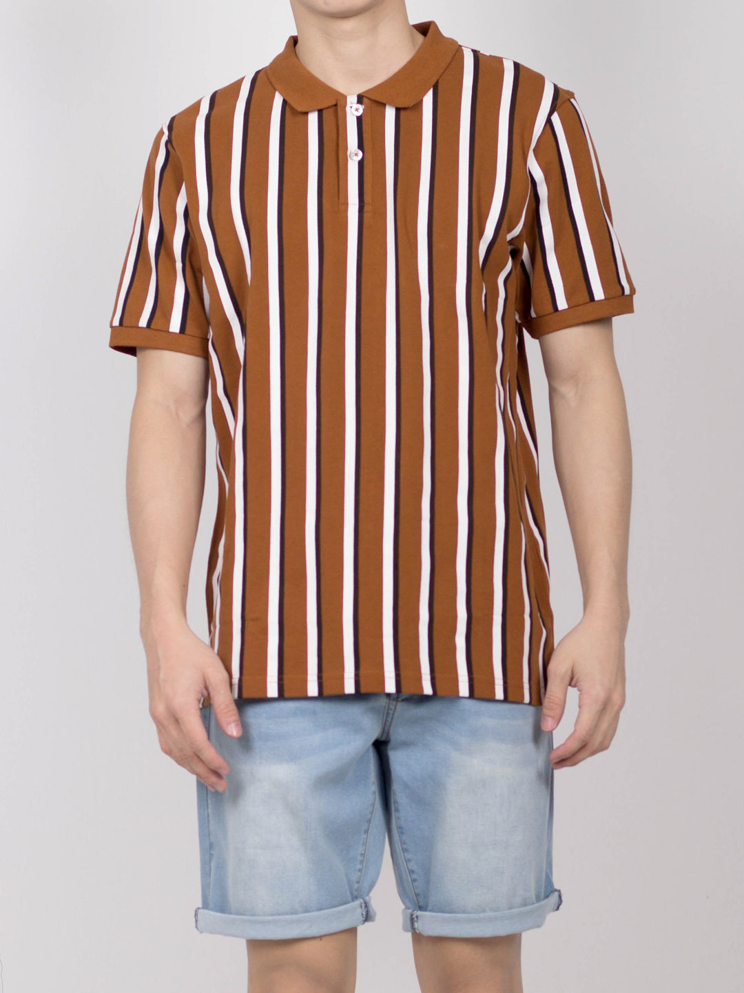 Men Vertical Stripe Polo Tee - Brown