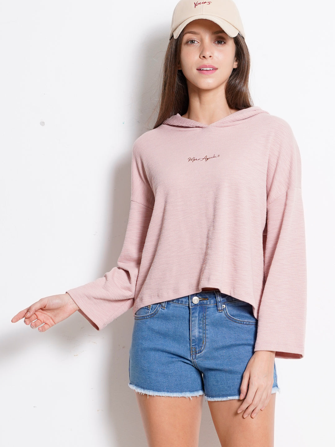 Women Long Sleeve Slogan Sweatshirt Hoodie - Pink