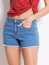 Mid Rise Short Jeans - Light Blue