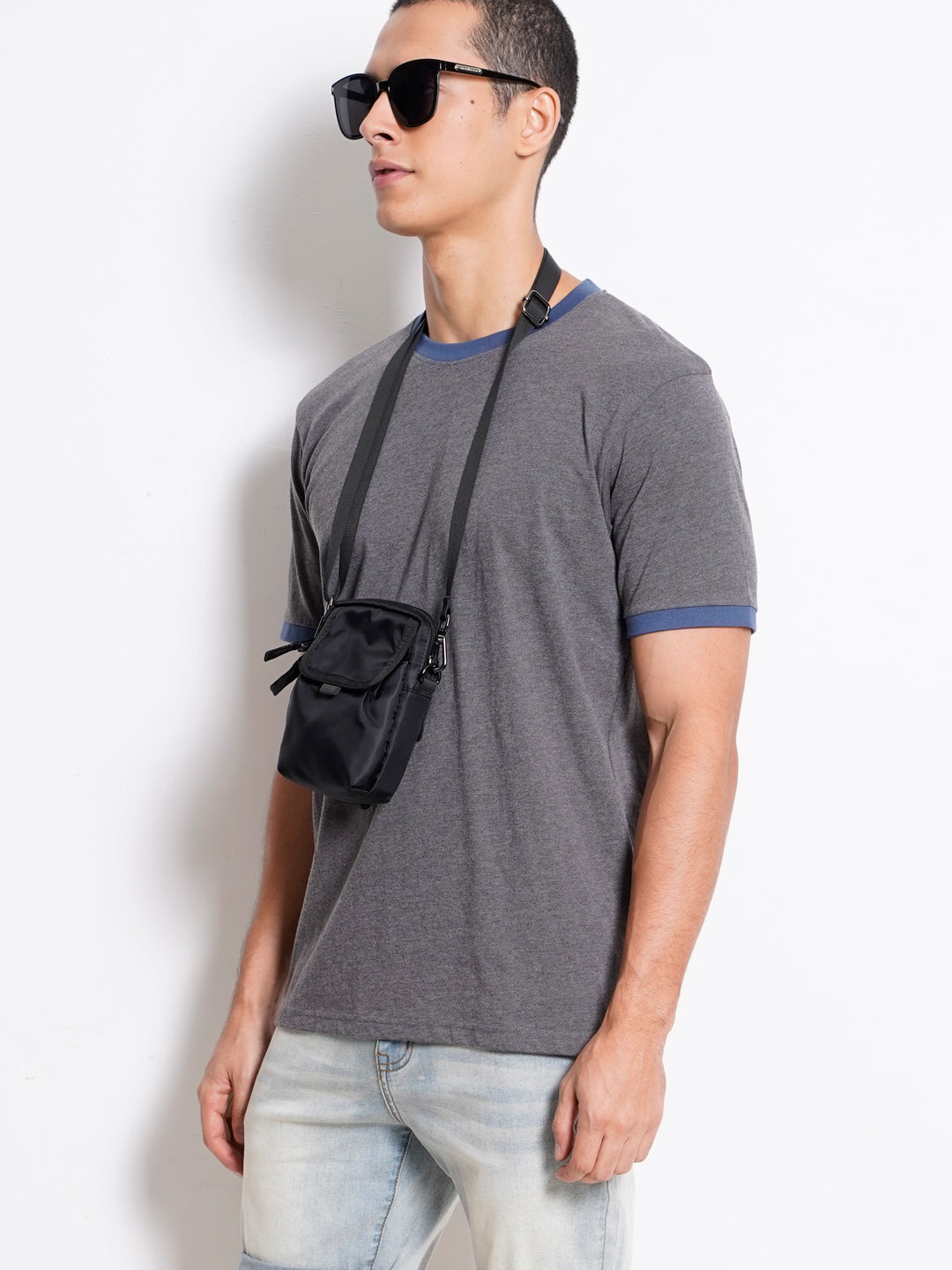 Men Plain Short Sleeve Tee - Dark Grey