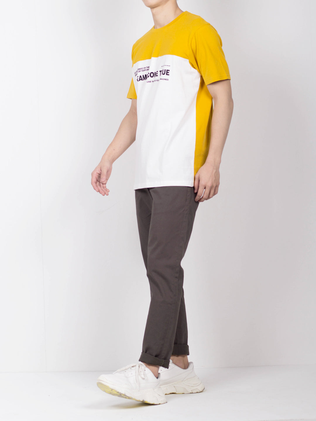 Men Cut And Sew Slogan T-Shirt - Yellow