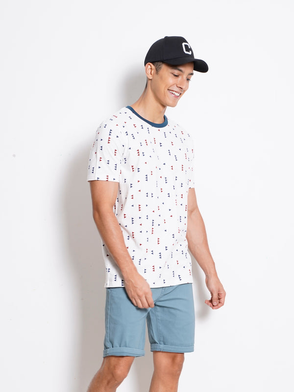 Full Print Short Sleeve T-Shirt - White