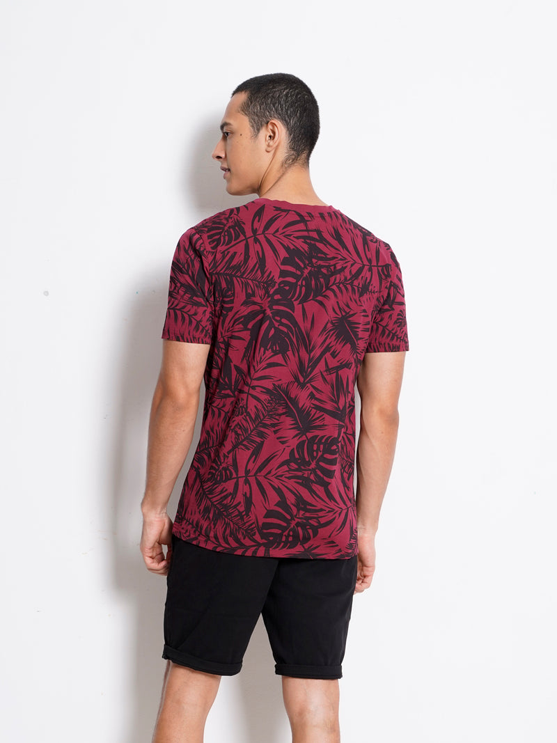Full Print Short Sleeve T-Shirt - Maroon