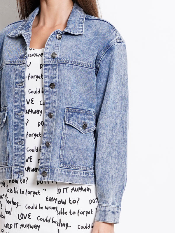Boyfriend Denim Jacket - Light Blue