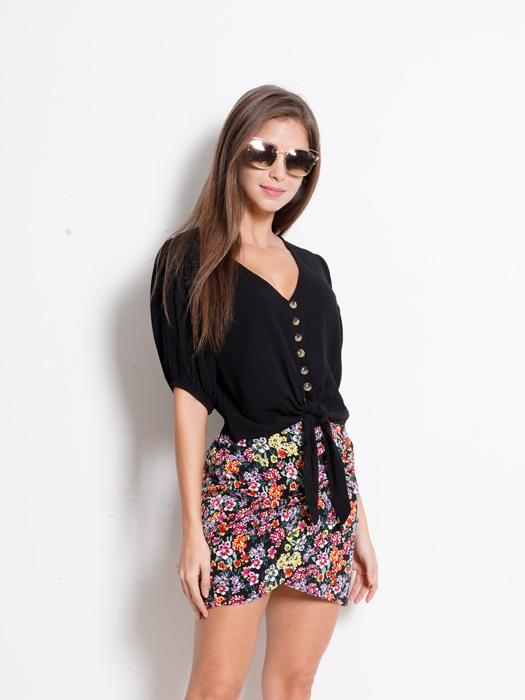 Women Tied Front Short Sleeve Blouse  - Black