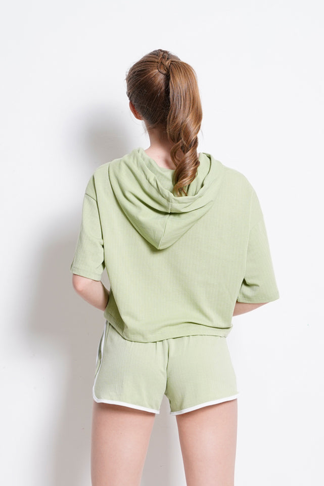 Short Sleeve Hoodie Sweartshirt - Light Green