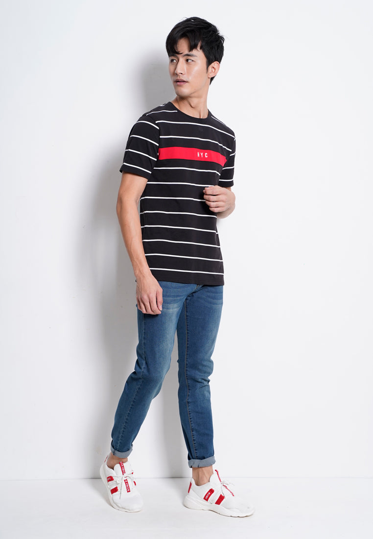 Men Stripe Short Sleeve T-Shirt - Black - RFS20H2155