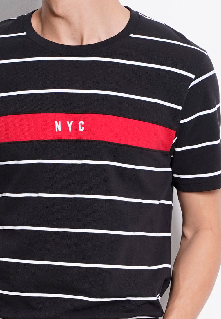 Stripe Short Sleeve T-Shirt - Black