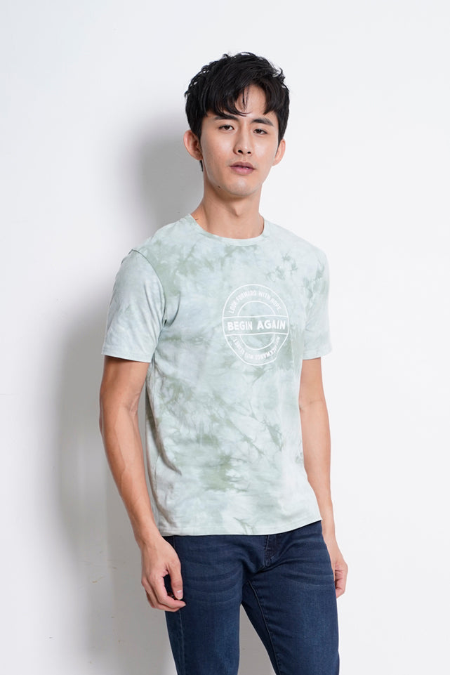 Men Tie Dyed Fashion Tee - Green