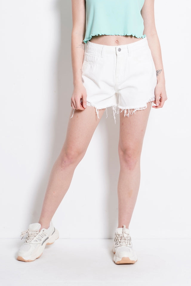 Mid Rise Short Jeans - White
