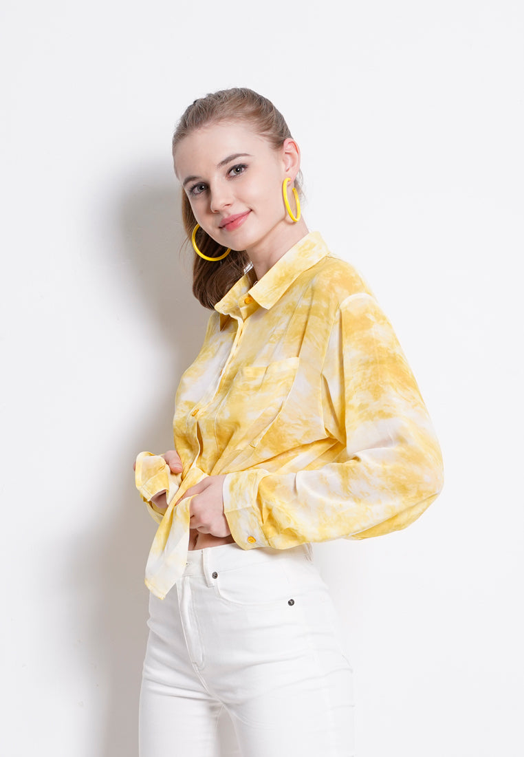 Tie Dyed Long Sleeve Shirt - Yellow