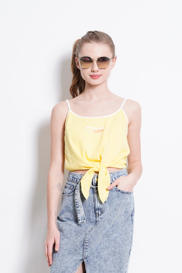 Adjustable Strap Front Tied Top - Yellow