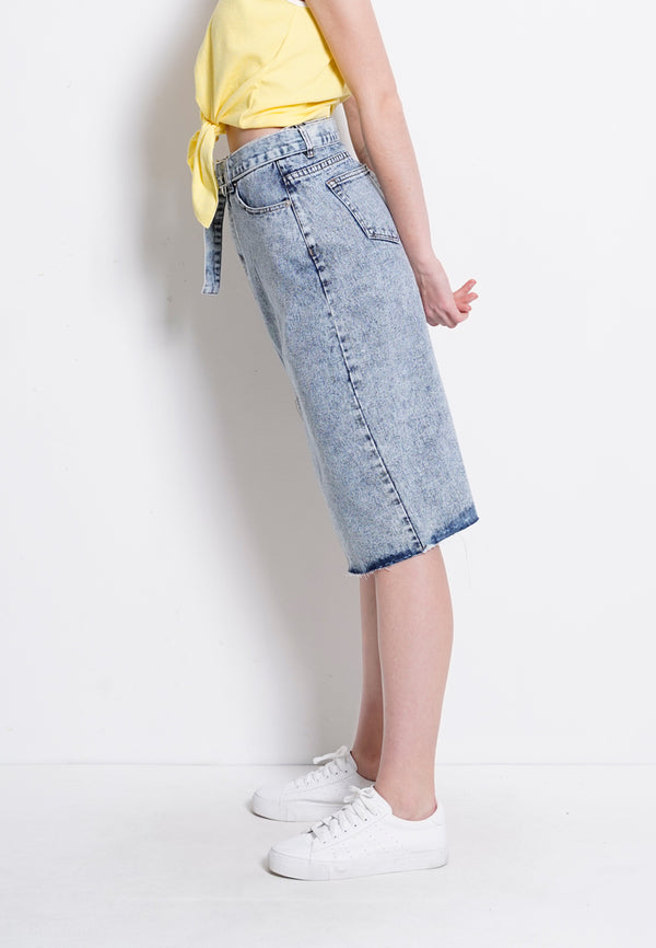 Denim Long Skirt - Blue