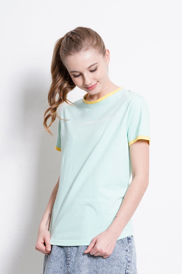 Women Graphic Short Sleeve T-Shirt - Light Green