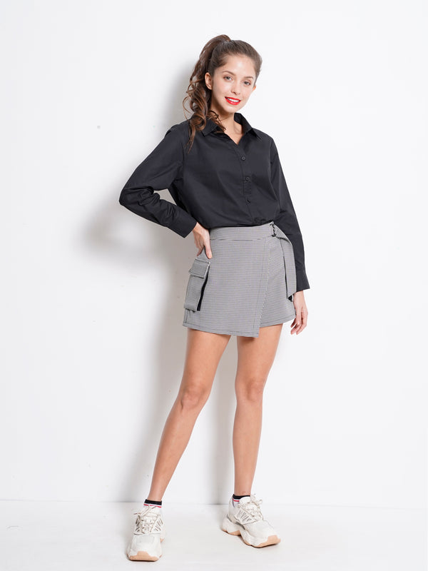 Checked Skirt With Buckle - Black