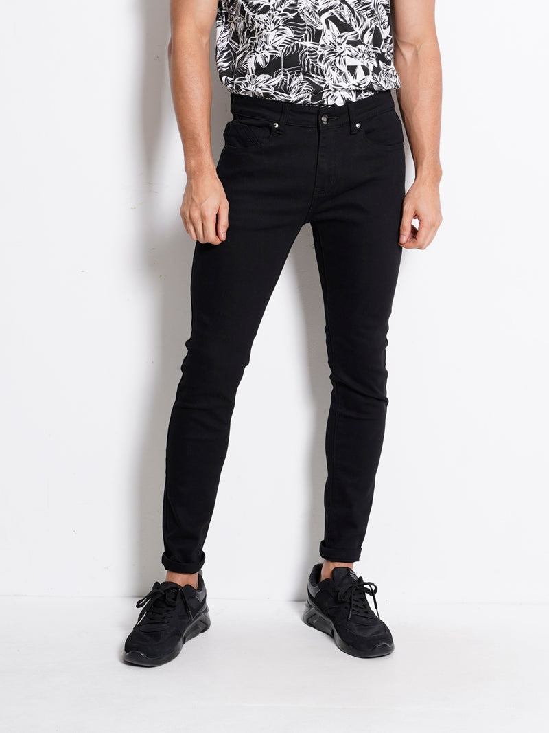 Skinny Fit Long Jeans - Black