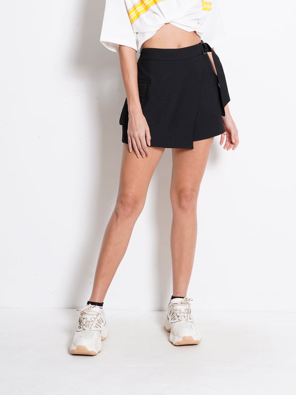 Skort With Buckle - Black