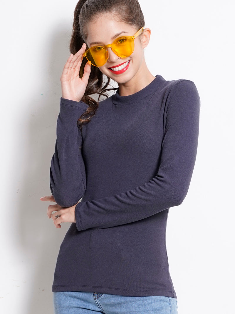 Ribbed  Long Sleeve Turtle Neck Blouse - Dark Grey