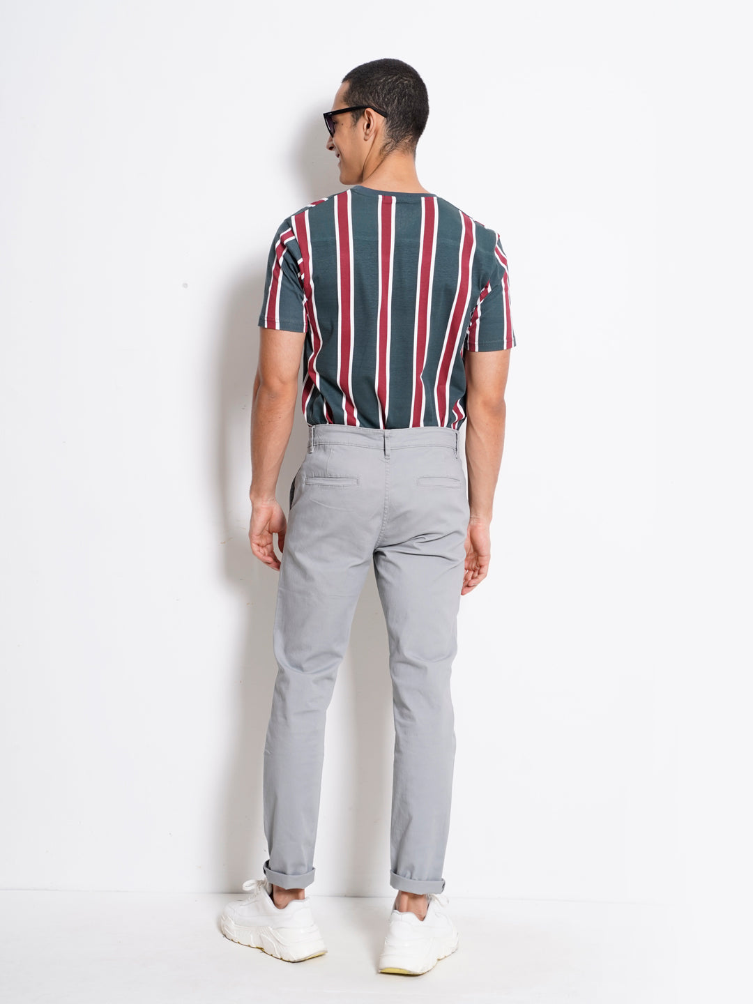 Men Long Pants Slim Fit - Light Grey