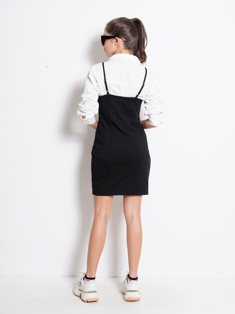 Strap Dress With Side Tape  - Black