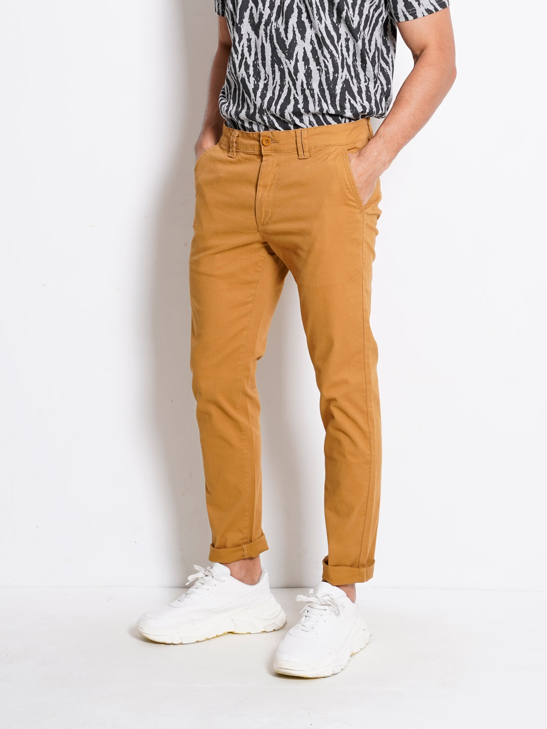 Men Long Pants Slim Fit - Brown - THM20H2391