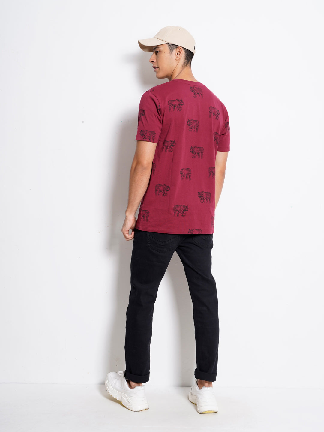 Men Full Print Short Sleeve T-Shirt - Maroon - GAM20H2553