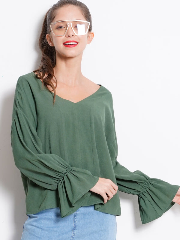 Long Ruffle Sleeve Woven Blouse - Dark Green