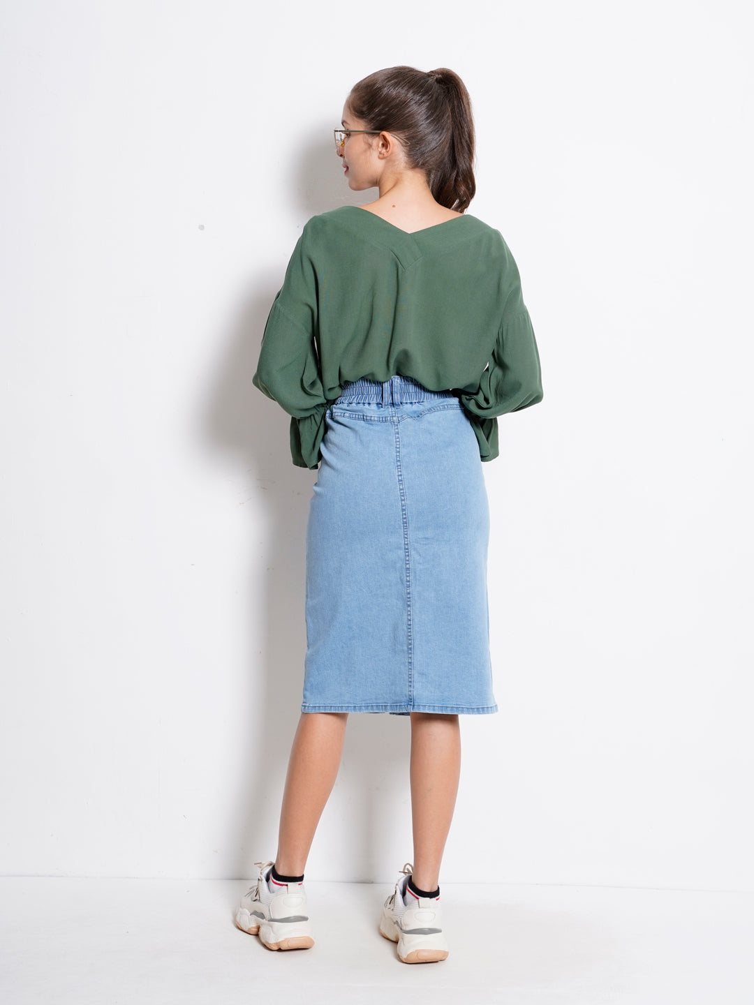 Women Denim Long Skirt - Light Blue