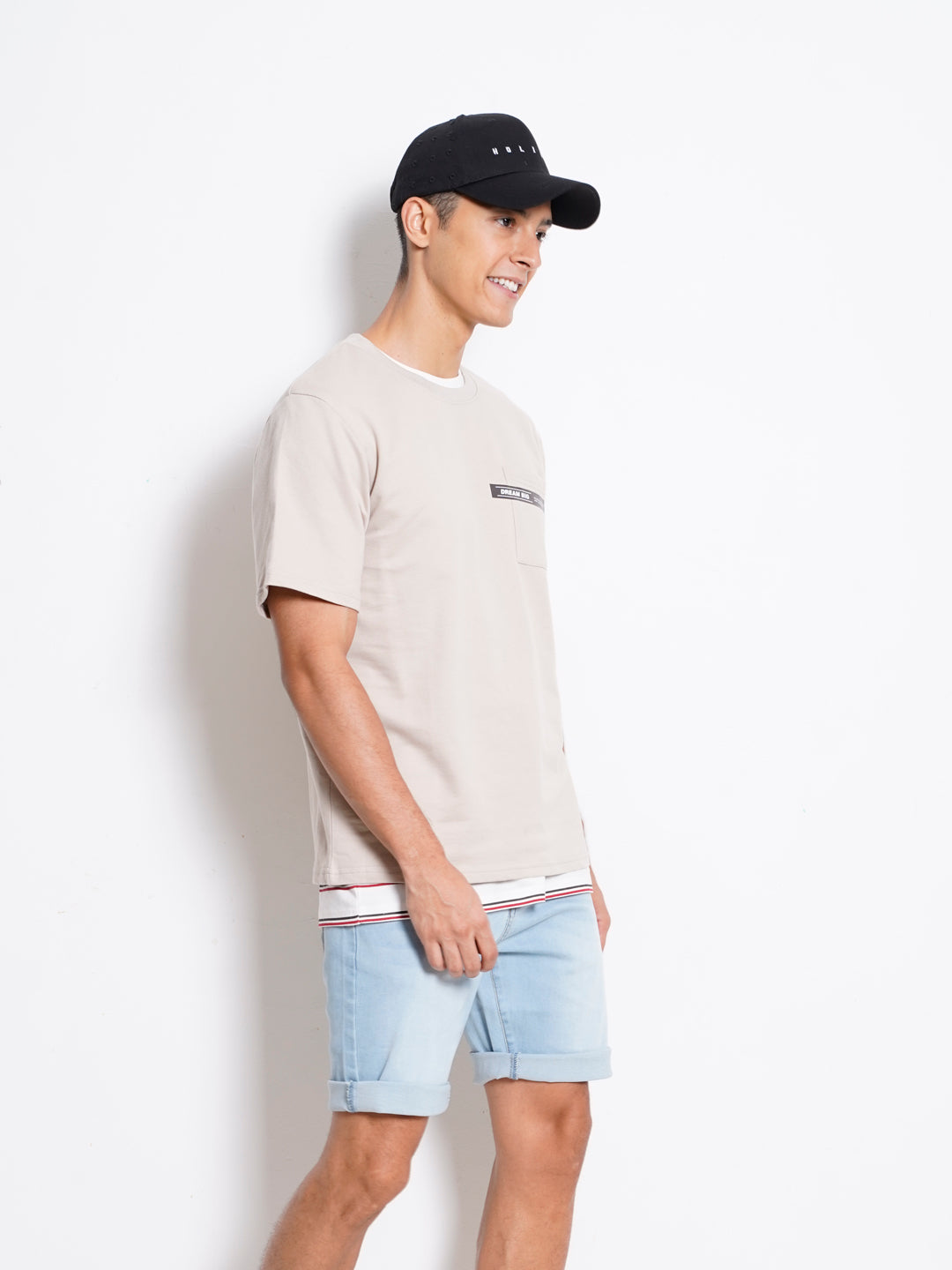 Men Short Sleeve Fashion Tee - Khaki