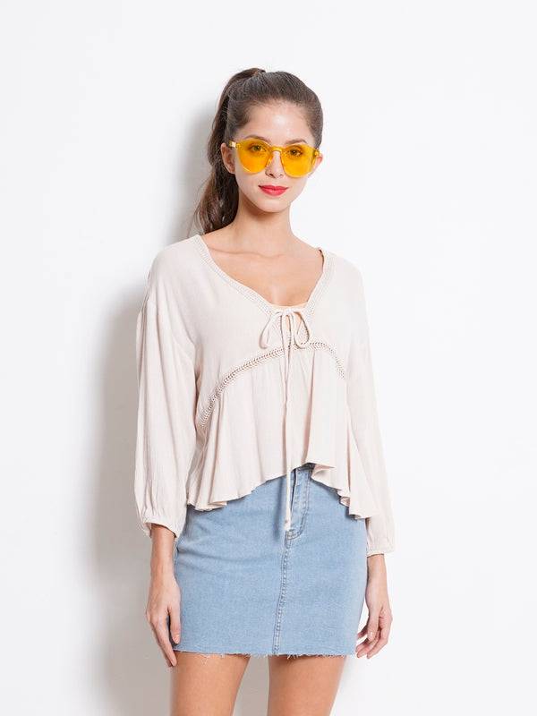 V Neck Embroidery Long Sleeve Blouse - Beige