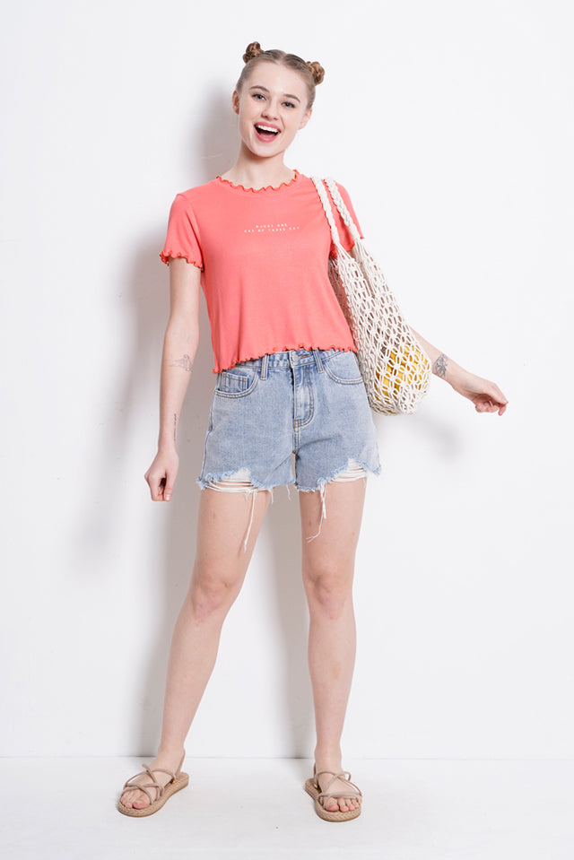 Short Sleeve Ribbed Blouse - Pink