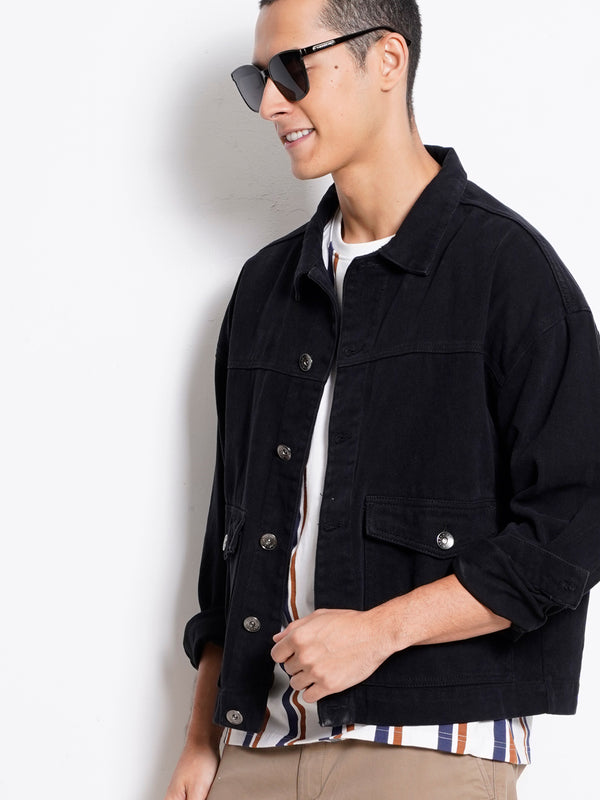 Stylish Denim Jacket - Black