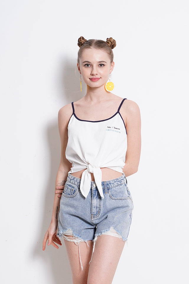 Women Adjustable Strap Front Tied Top - White